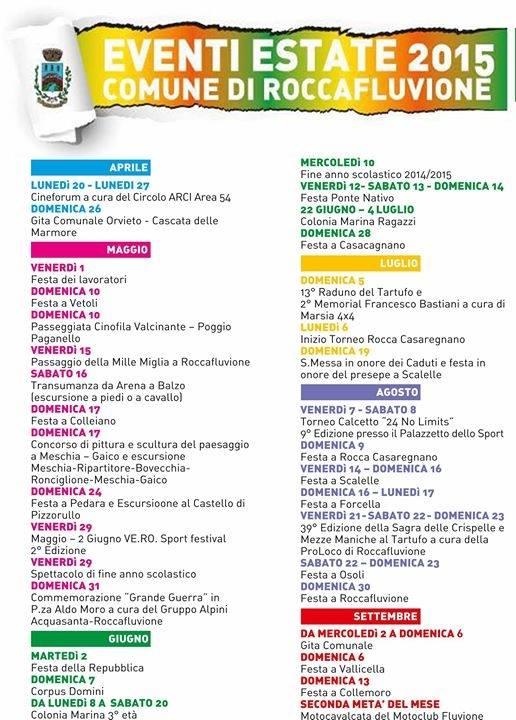 Eventi estivi a Roccafluvione nel 2015