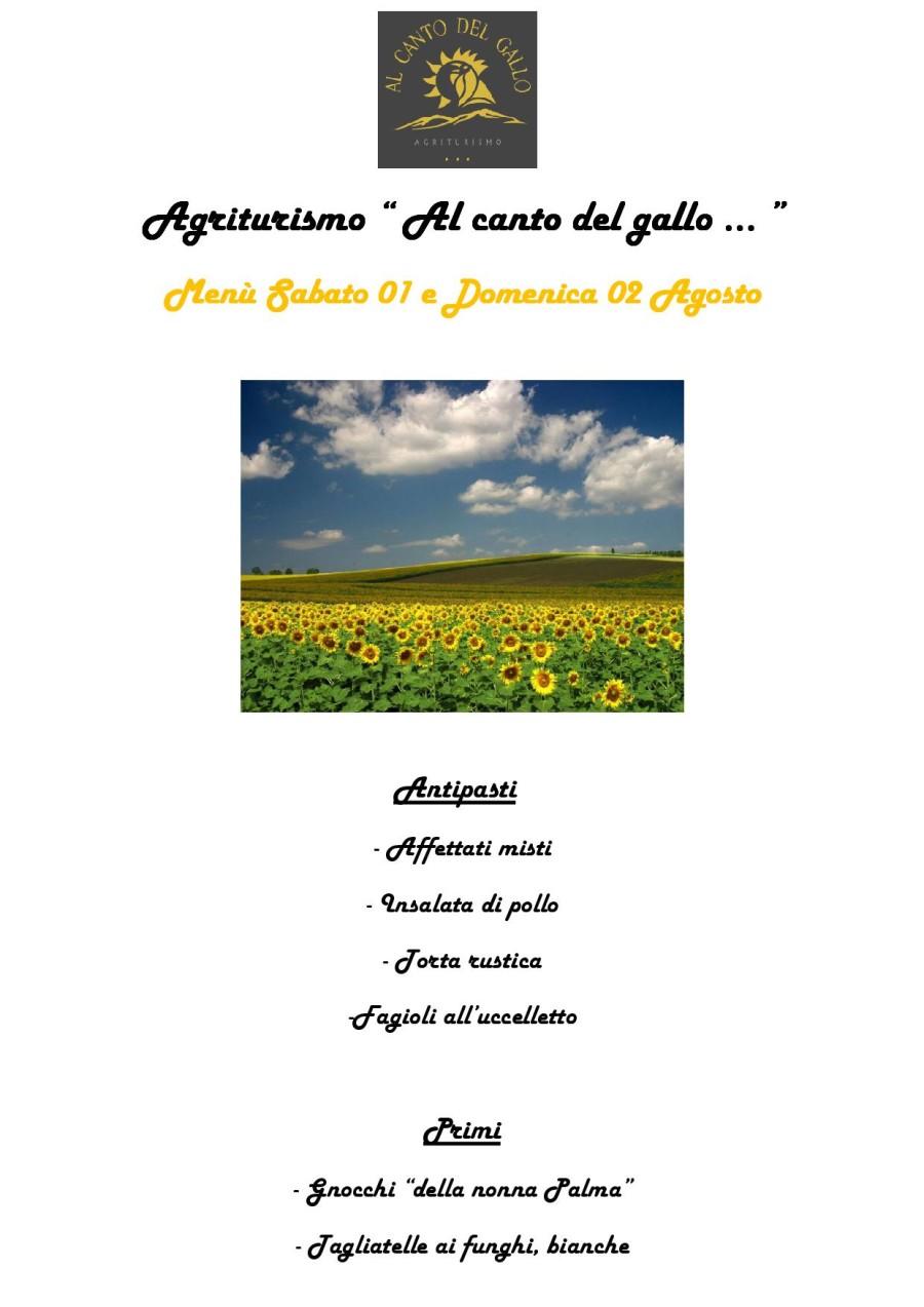 Menù Sabato 01 e Domenica 02 Agosto (pag.1)