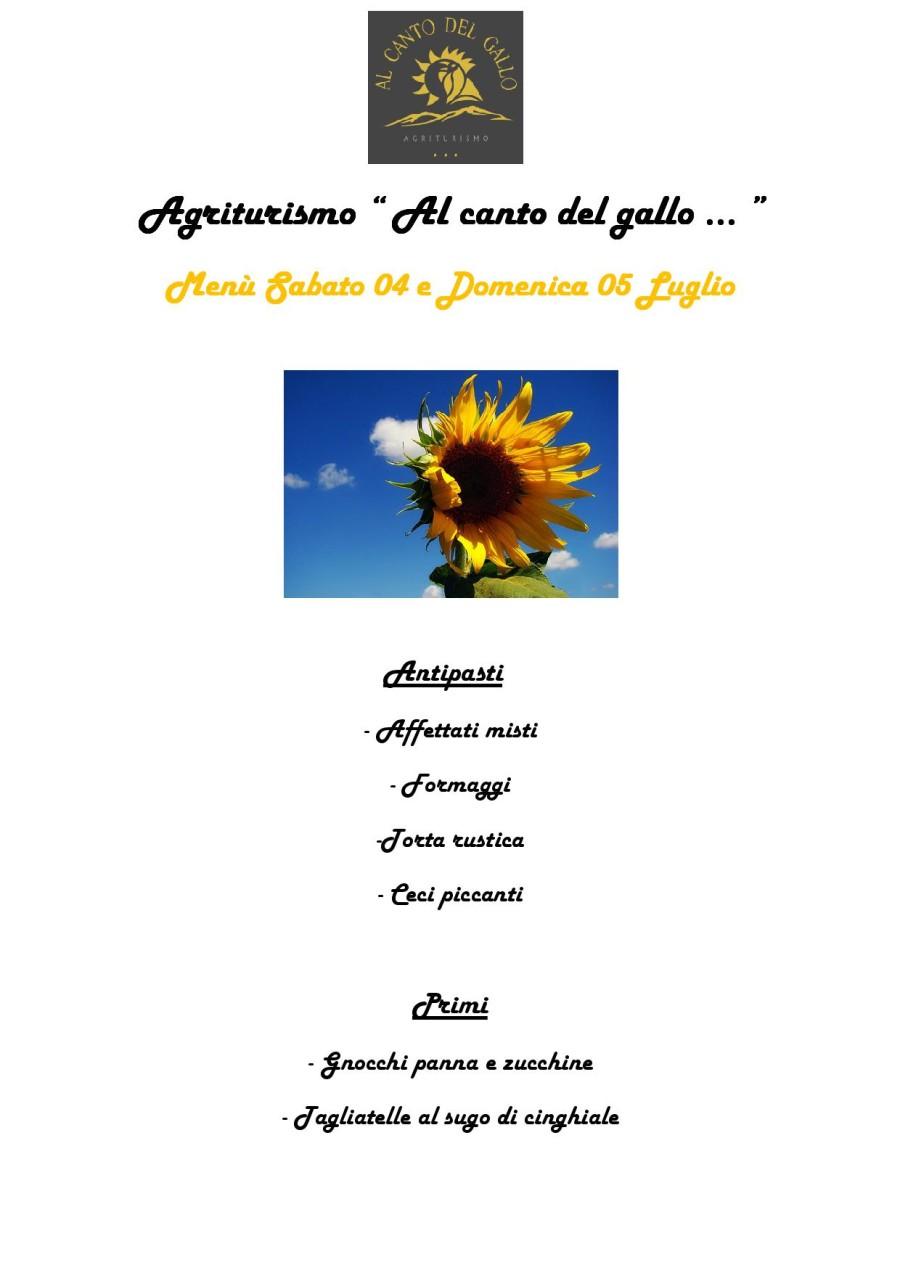 Menù Sabato 04 e Domenica 05 Luglio (pag.1)