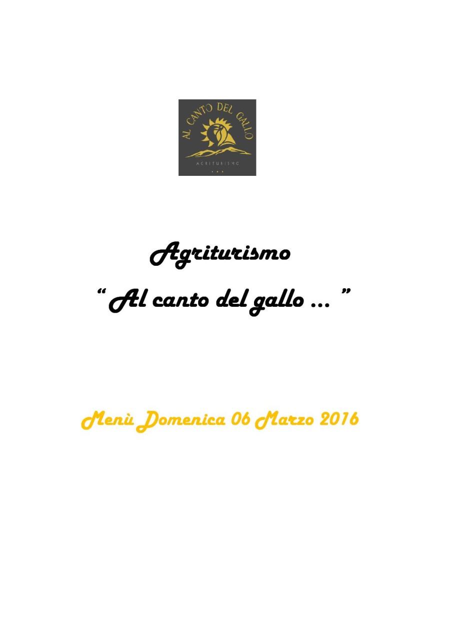 Menù Domenica 06 Marzo 2016 ( pag. 1 )