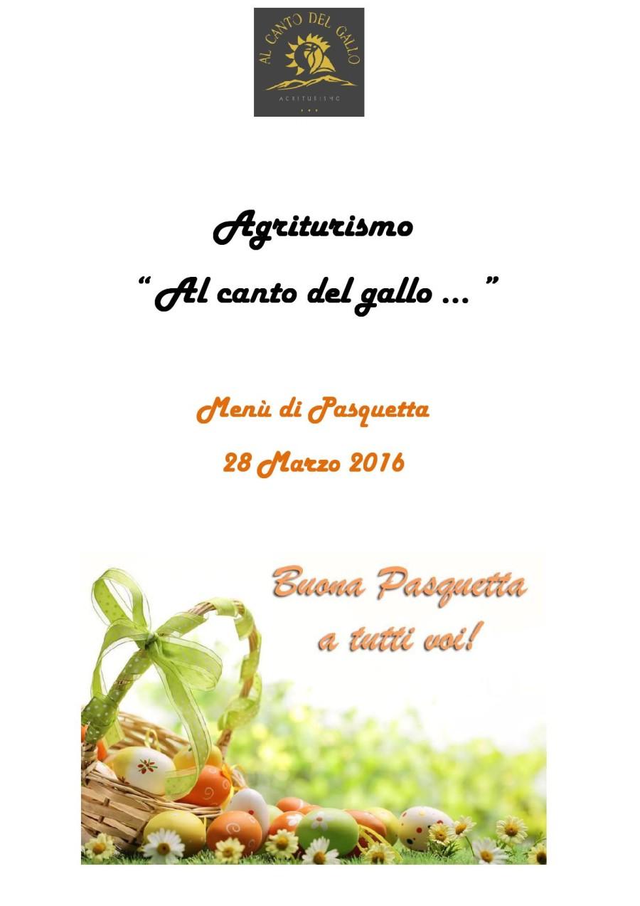 Menù di  Pasquetta 28 Marzo 2016 ( pag. 1)