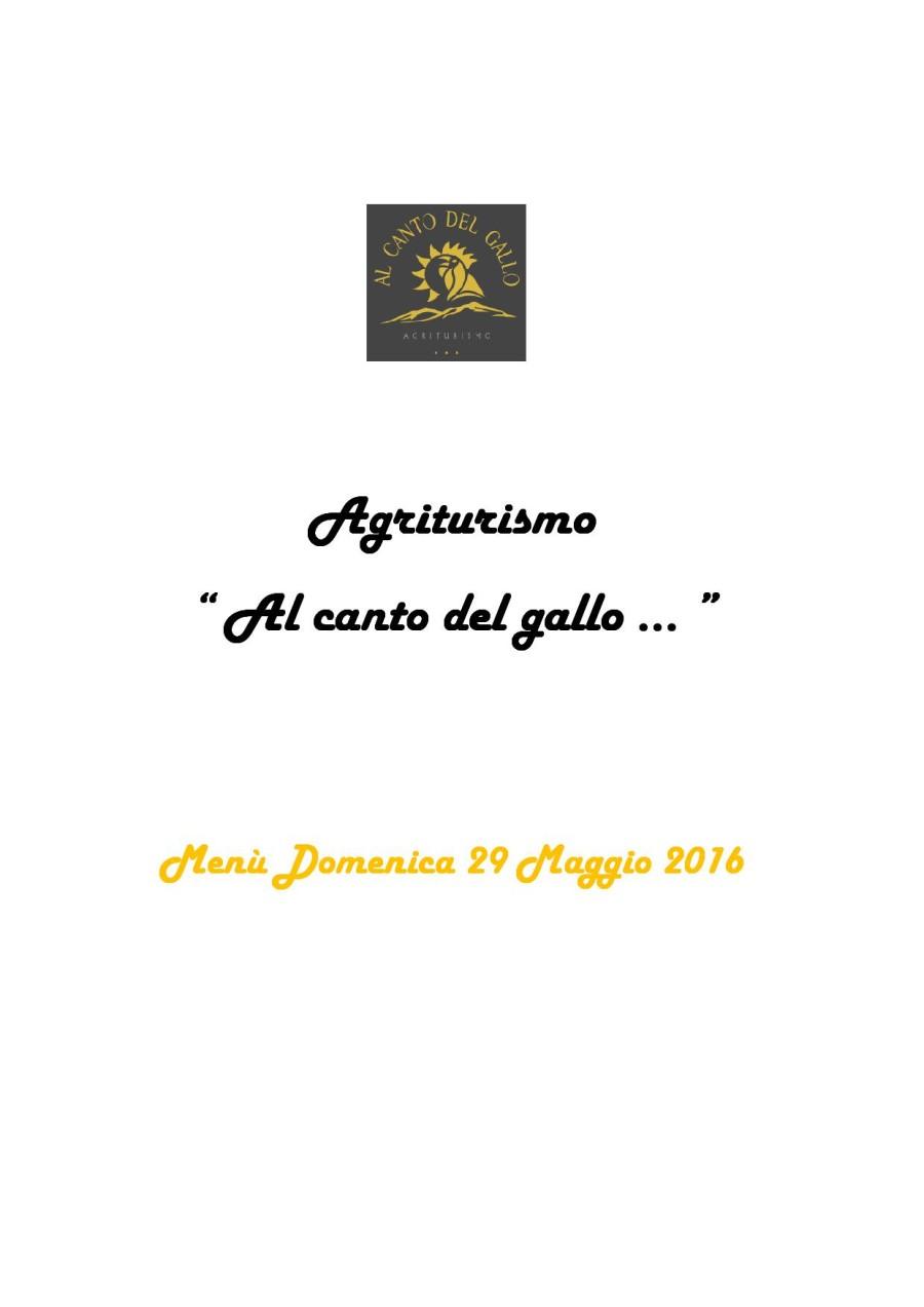 Menù Domenica 29 Maggio 2016 ( pag. 1 )