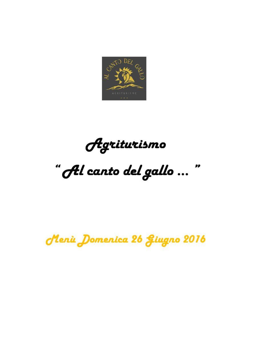 Menù Domenica 26 Giugno 2016 ( pag. 1 )