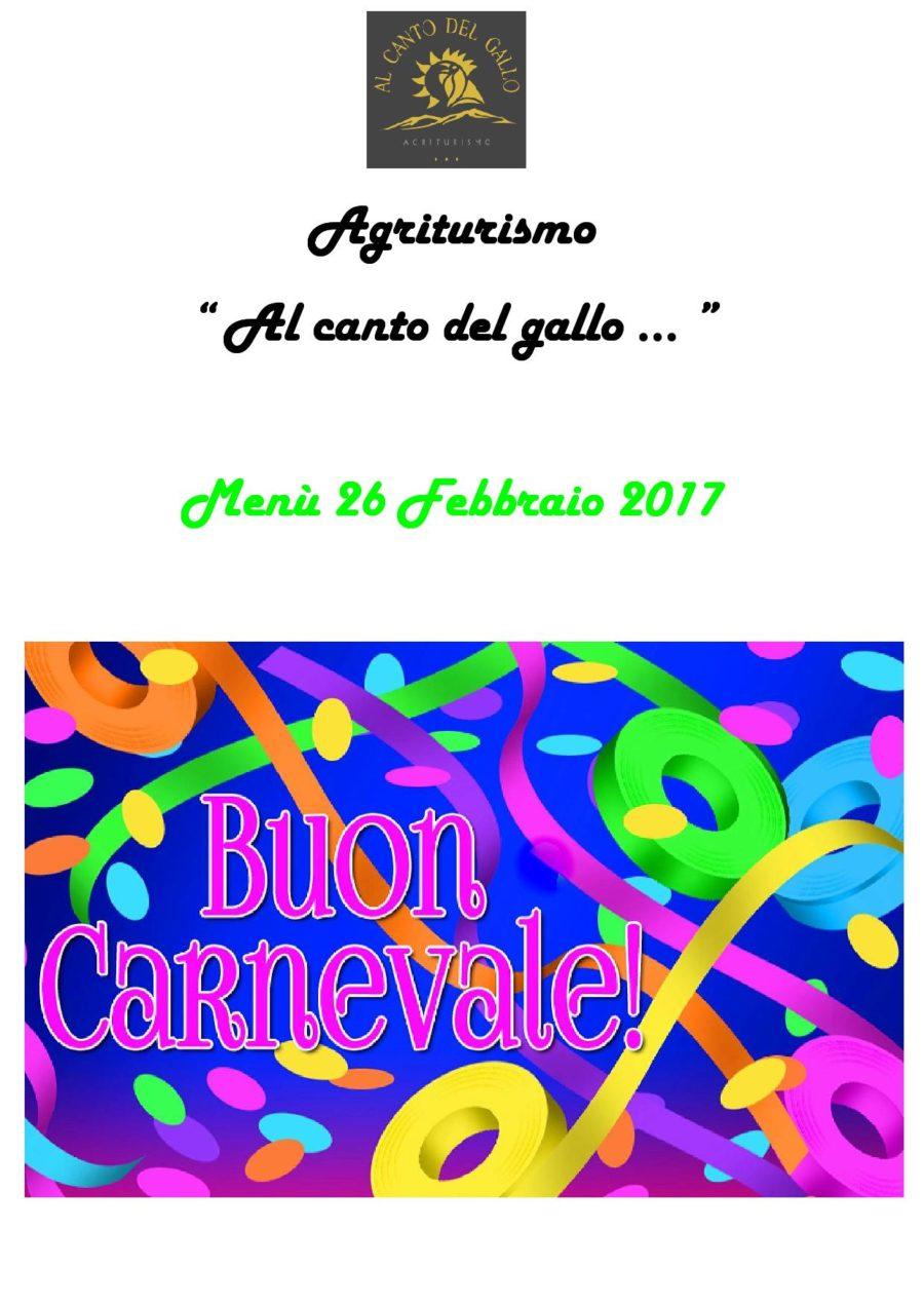 Menù Carnevale 26 Febbraio 2017 ( pag.1 )