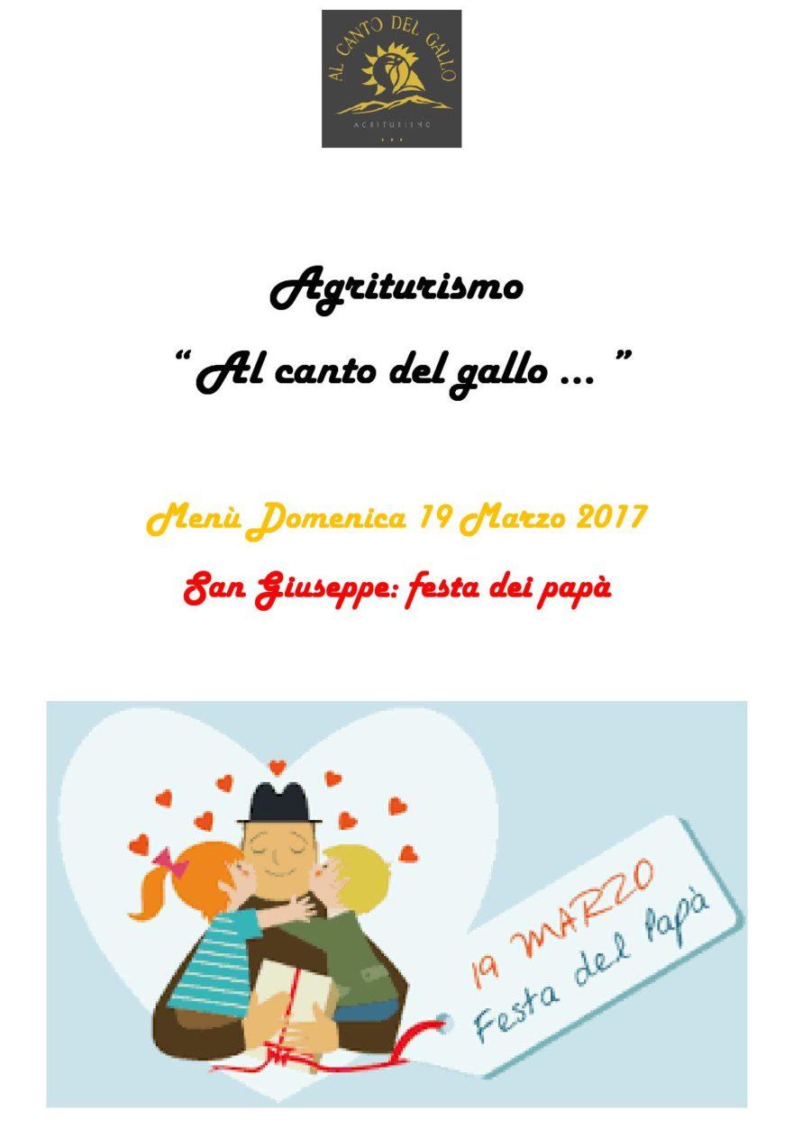 Menù Domenica 19 Marzo 2017 Festa del papà ( pag. 1 )